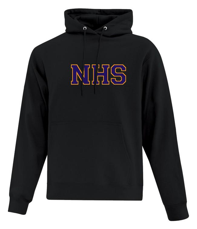 Newmarket High School Black Hoody - Purple on Gold