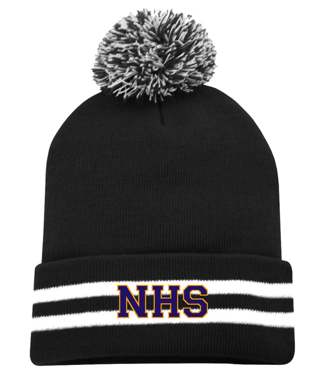 Newmarket High School Black and White Striped Pom Toque - Purple on gold