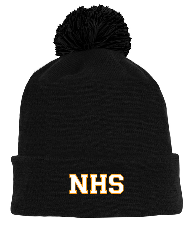 Newmarket High School Black Pom Touque - White on gold