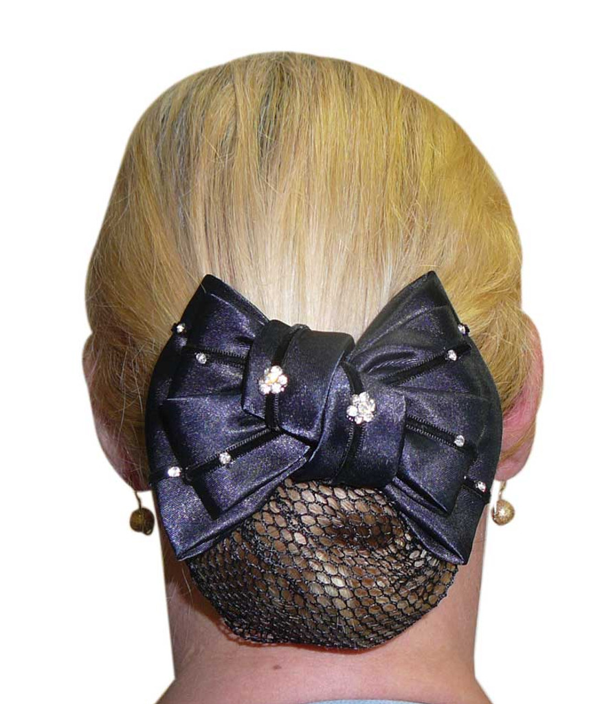 Diamonte Flowers Show Bow & Hair Net