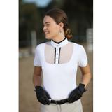 Huntington Michelle Short Sleeved Show Shirt - White w/Black Frill