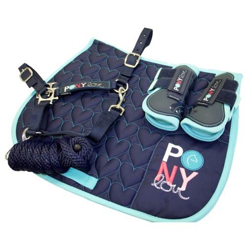 Bambino Navy Pony Pack (Saddle Pad, Halter & Lead, Boots)