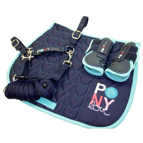 Bambino Navy Pony Pack (Saddle Pad, Halter & Lead, Boots)