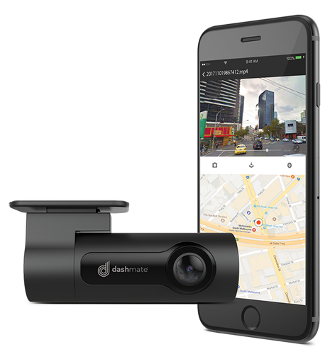 DASHMATE DISCREET DASH CAM 1080P WITH GPS WIFI & SUPER CAPACITOR
