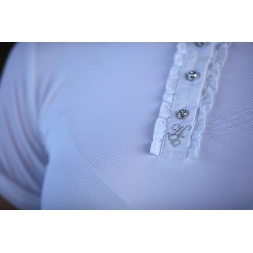 Huntington Louise Short Sleeved Show Shirt w/White Lace