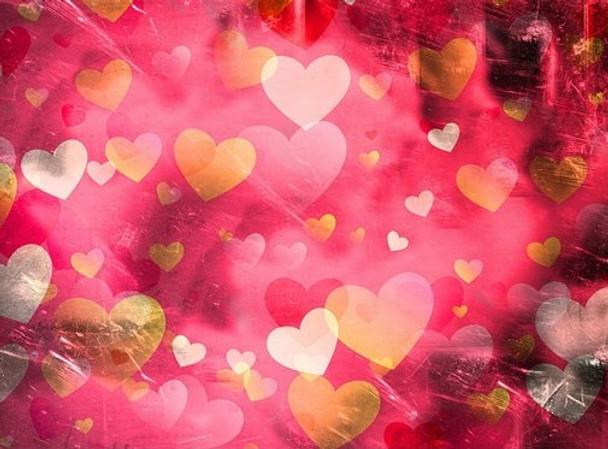 Mini Mosaic Kit: Pink and Gold Hearts 20 x 25cms(KMMGHEARTS)