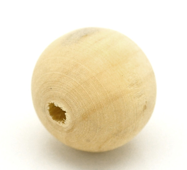 Wood beads: Round 20mm Natural (50)(W007)