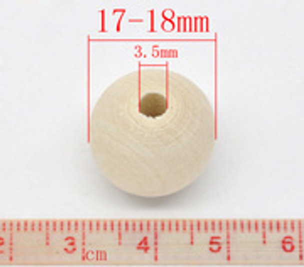 Wood beads: Round 17mm Natural (50)