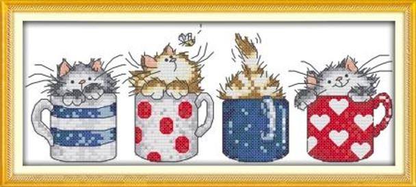 Cross Stitch Kit: Kittens in Cups(17x37cm)(XSKITCUP)
