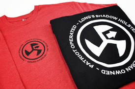 "Long's Shadow Shirts Re with Black, Black With White 4"" Logo front Center and 10"" Logo Back Center"