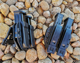 Black and Basket Weave  Antero MRD Narrow Double Magazine Carriers (X-Lock on the left for duty belts, and Malice Clips for MOLLE Web Gear)