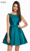 Alyce 1449 short fit and flare stretch taffeta dress with a bateau neckline and pockets
