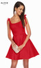 Alyce 1450 short fit and flare stretch taffeta dress with a scoop neck, tie shoulder straps and belt pockets