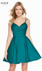 Alyce 1458 short fit and flare mikado dress with a v-neckline and pockets