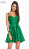 Alyce 1460 short fit and flare luminous satin dress with a sweetheart neckline and pockets