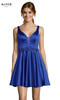 Alyce 1464 short fit and flare luminous satin dress with a plunging neckline, beaded waist and pockets