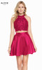 Alyce 3823 short fit and flare mikado-lace dress with a halter lace bodice and pockets
