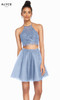 Alyce 3824 short fit and flare tulle-laced dress with a halter laced bodice