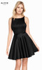 Alyce 3872 short fit and flare luxe silk satin dress with a high neck, bow and pockets