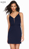 Alyce 4090 short luxe jersey dress with an illusion neckline