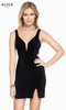 Alyce 4095 short jersey dress with a plunging neckline, side cut outs and slit