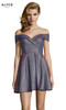 Alyce 4184 short fit and flare cracked ice taffeta dress, off the shoulder neckline and pockets