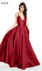 Alyce 60593 long fit and flare mikado dress with a v-neckline and pockets