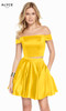 Alyce 1462 short fit and flare luminous satin dress, off the shoulder with pockets