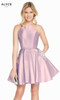 Alyce 3887 short fit and flare mikado dress with a high neckline and embroidered pockets