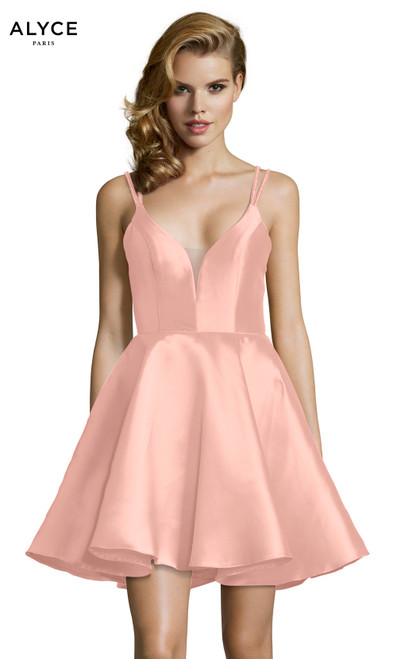 Formal Dress: 3769. Short, V-Neck, Fit N Flare, Strappy Back