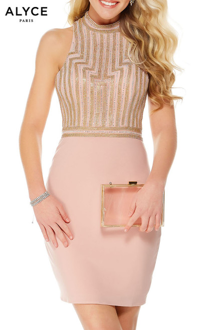 Formal Dress: 1340. Short, High Neck, Straight