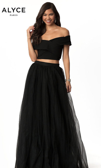 Harper Lemon 221112 long two piece dress with an off the shoulder crop top and tulle skirt