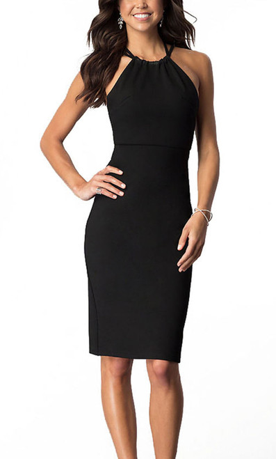 Alyce 22110 knee length fitted dress with astrappy halter neckline