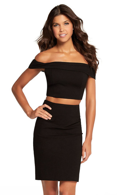 Alyce 22107 short two piece bodycon dress with an off the shoulder crop top