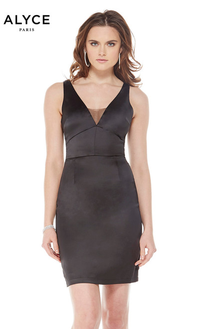Alyce 22102 short fitted dress with a v neckline