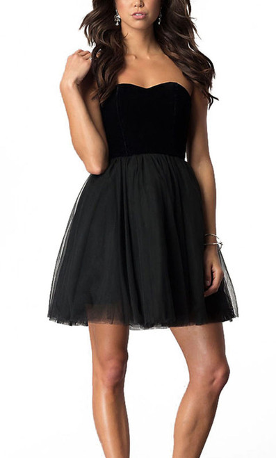 Alyce 22101 skater dress with a strapless semi sweetheart neckline