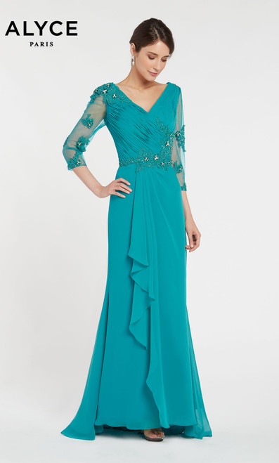 Alyce 29681 long flowy dress with a v neckline and layered skirt