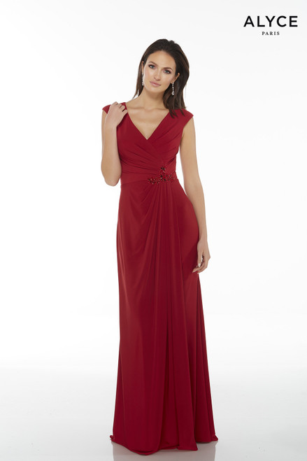 Alyce 27266 long gown with a V neckline, capped sleeves and a ruched embellished waist