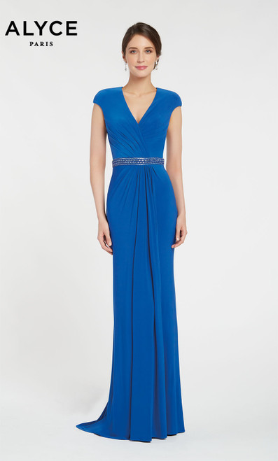 Alyce 27265 long gown with an embellished belt at the waist, v neckline and short capped sleeves
