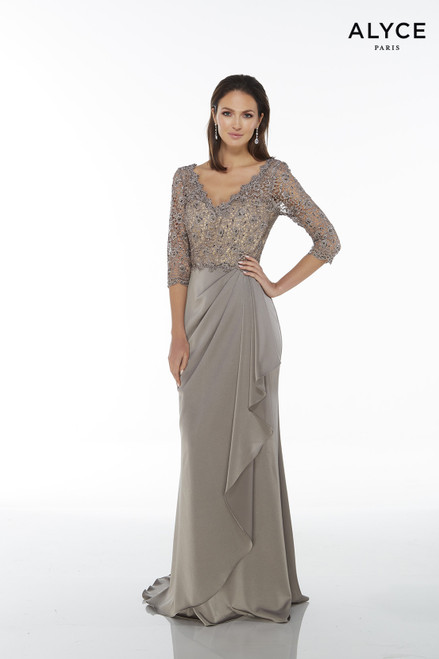 Alyce 27260 long gown with a waterfall skirt, V neckline, laced bodice and 3/4 sleeve
