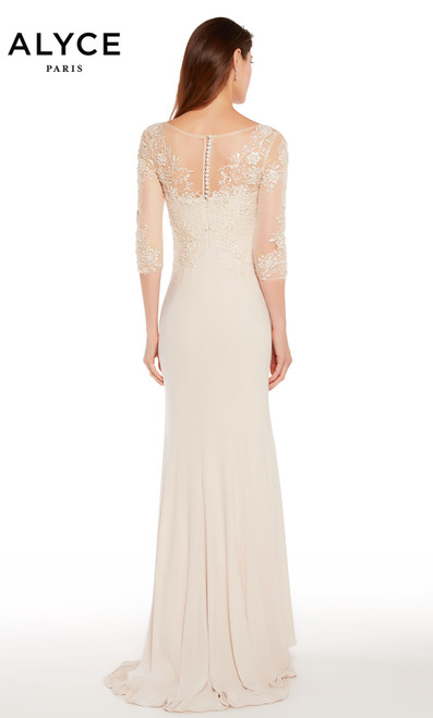 Alyce 27257 long gown with sheer embroidered 3/4 sleeves and an illusion semi sweetheart neckline