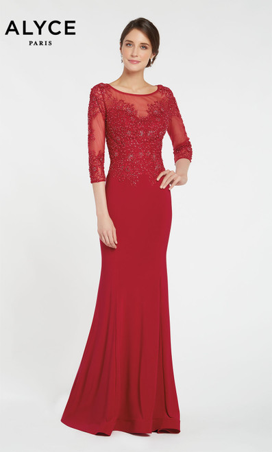 Alyce 27257 long gown with a sheer embroidered button up back