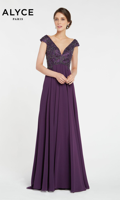 Alyce 2746 long flowy gown with an embellished bust and off the shoulder v neckline