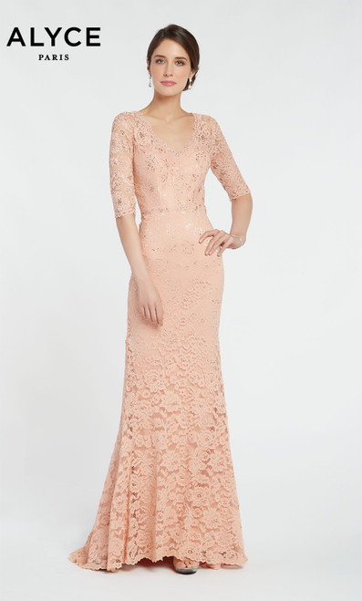 Alyce 27241 laced bodycon gown with elbow length sleeves and a V neckline
