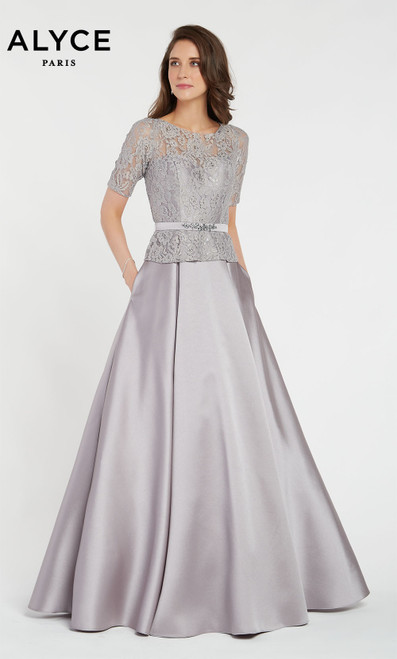 Alyce 27231 ballgown with pockets, a belt at the waist, short sleeves and a scooped neckline
