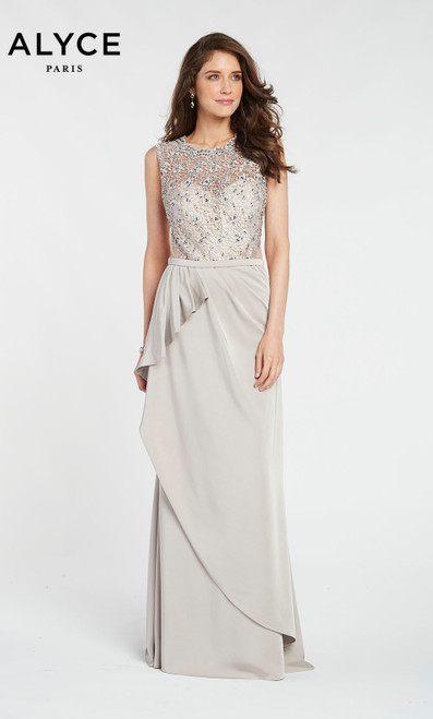 Alyce 27107 long sheath gown grabbed at the waist with an embroidered bodice and scooped neckline