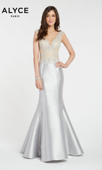 Alyce 27101 long trumpet style gown with a sheer embroidered corset style bodice and illusion V neck