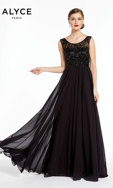 Formal Dress: 27316. Long, Scoop Neck, Flowy, V Shaped Back