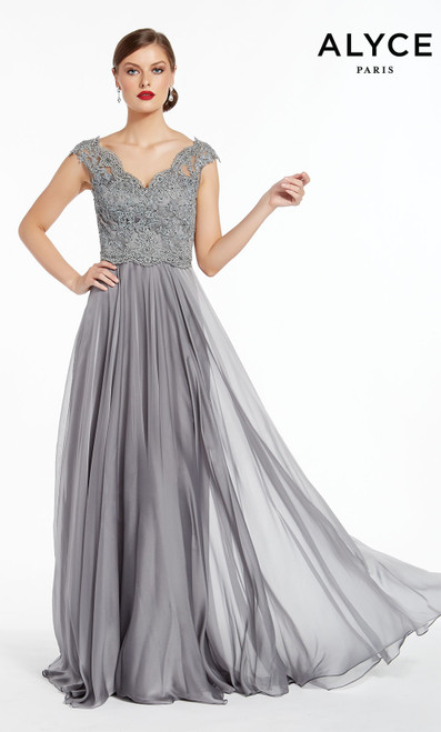 Formal Dress: 27315. Long, V-Neck, Flowy, V Shaped Back