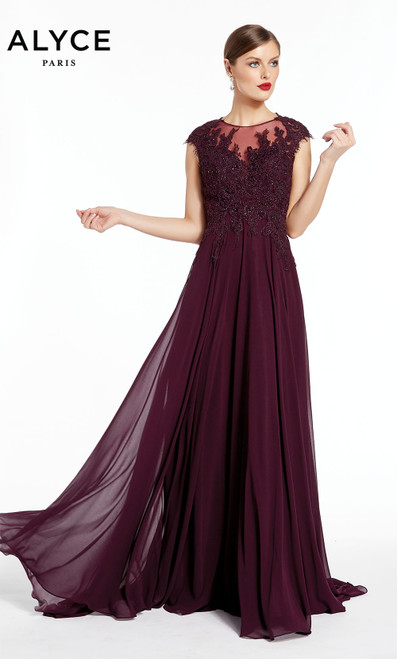 Formal Dress: 27314. Long, Illusion Neckline, Flowy